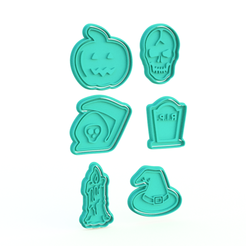 Screenshot_1.png Download STL file Halloween Cookie Cutter Set of 6 • 3D printing design, roxengames