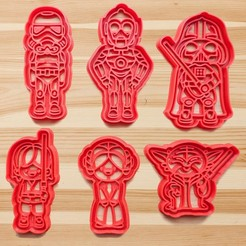 Download 3D printing designs Star Wars cookie cutter set of 6, roxengames