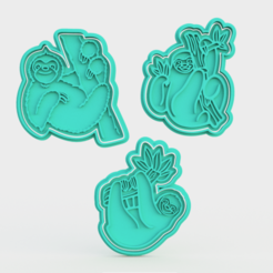 Download 3D printer model Sloths cookie cutter set of 3, roxengames