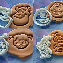 Download 3D printer designs Monsters Inc cookie cutter set of 4, roxengames