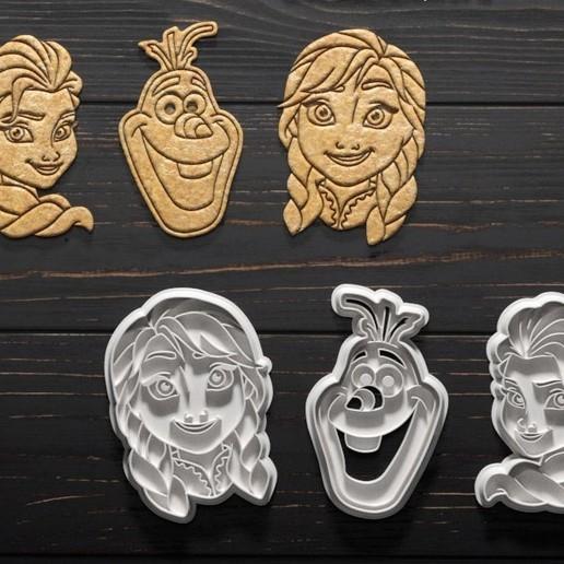 Download STL file Frozen cookie cutter set of 3 • 3D printer model, roxengames