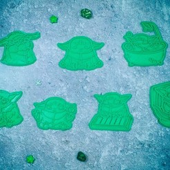 Download 3D printing models Baby Yoda Mandalorian cookie cutter set of 7, roxengames