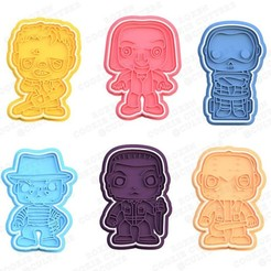 1.jpg Download STL file Horrors movie characters cookie cutter set of 6 • 3D printer template, roxengames