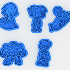 Download 3D print files Teen titans cookie cutter set of 5, roxengames
