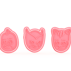 Download STL file PJ Masks hero faces cookie cutter set of 3 • 3D printable object, roxengames