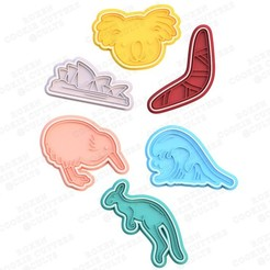 1.jpg Download STL file Australia element and animals cookie cutter set of 6 • 3D print model, roxengames
