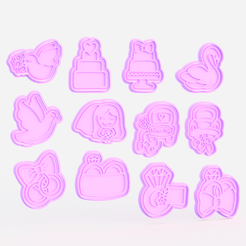 wedding.png Download STL file Wedding cookie cutter set of 12 • 3D printing design, roxengames