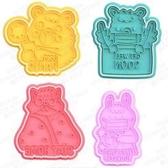 1.jpg Download STL file Covid Quarantine cookie cutter set of 4 • 3D print object, roxengames