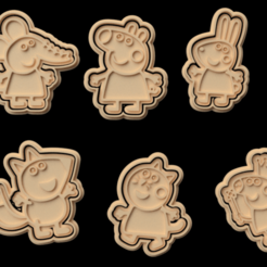 Download 3D printing models Peppa Pig cookie cutter set of 6, roxengames