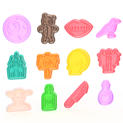 Download 3D print files Halloween Cookie Cutter Set of 12, roxengames