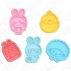 Kawaii easter cookie cutter set of 5.jpg Download STL file Kawaii Easter cookie cutter set of 5 • 3D printing object, roxengames