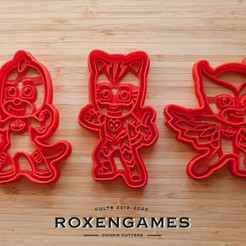 Download 3D print files PJ Masks hero cookie cutter set of 3, roxengames