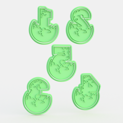 dino numbers.png Download STL file Dinosaur numbers cookie cutter set of 5 • 3D printable design, roxengames