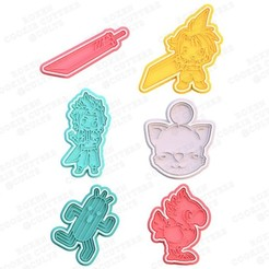 1.jpg Download STL file Final fantasy cookie cutter set of 6 • 3D printer object, roxengames