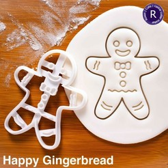 Download 3D printer templates Happy Gingerbread cookie cutter, roxengames