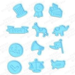 cover.jpg Download STL file Political of USA cookie cutter set of 12 • 3D print model, roxengames