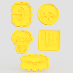 Download 3D printer designs Harry Potter cookie cutter set of 5, roxengames