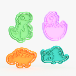 dino 2.png Download STL file Cute Dinosaur cookie cutter set of 4 • Model to 3D print, roxengames