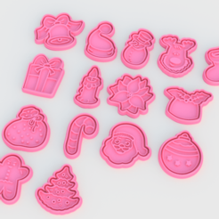 Download 3D printing templates Christmas Cookie Cutter Set of 15, roxengames