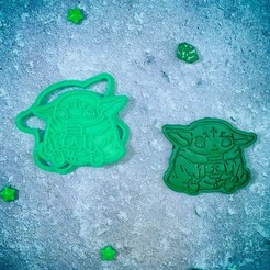 Download 3D printer model Baby Yoda Mandalorian with coffee cookie cutter, roxengames