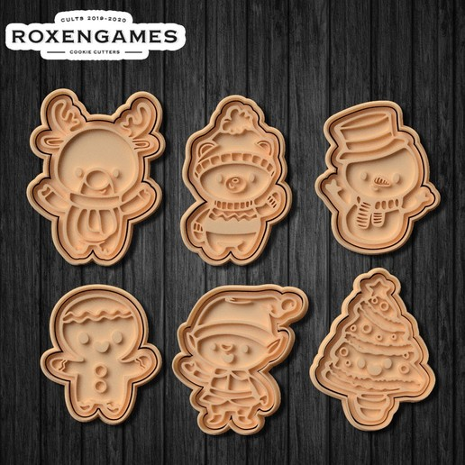 Download 3D printer designs Cute Christmas Characters Cookie Cutter Set of 6, roxengames