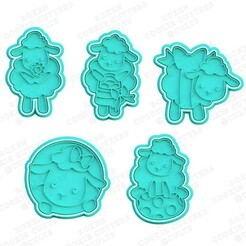 Easter sheep cookie cutter set of 5.jpg Download STL file Easter sheep cookie cutter set of 5 • 3D printing template, roxengames