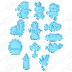 Easter cookie cutter set of 12.jpg Download STL file Easter cookie cutter set of 12 • 3D printable template, roxengames
