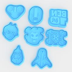 Screenshot_2.png Télécharger fichier STL Ben 10 ensemble de 8 biscuits à l'emporte-pièce • Modèle à imprimer en 3D, roxengames