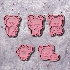 Download 3D printer templates Rilakkuma Cookie Cutters set of 5, roxengames