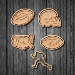 Télécharger fichier imprimante 3D Ensemble de 5 moules à biscuits pour le football américain, roxengames