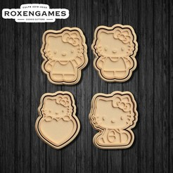Download 3D print files Hello Kitty Cookie Cutters set of 4, roxengames