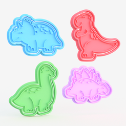 dino.png Download STL file Dinosaur cookie cutter set of 4 • 3D printer template, roxengames