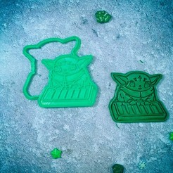Download 3D printing models Baby Yoda Mandalorian with the piano cookie cutter, roxengames