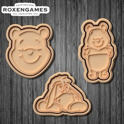Download 3D printer designs Winnie the Pooh cookie cutter set of 6, roxengames