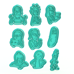 Download 3D printer files Rick and Morty Cookie Cutter Set of 9, roxengames