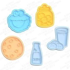 1.jpg Download STL file Cookie and Cookie Monster cookie cutter set of 5 • 3D printer design, roxengames