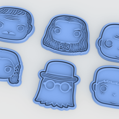 Download 3D printer templates The Addams family cookie cutter set of 6, roxengames