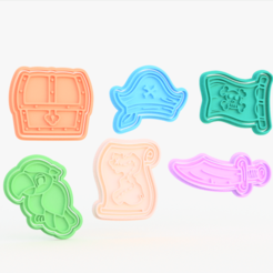 Screenshot_1.png Download STL file Pirate cookie cutter set of 6 • Design to 3D print, roxengames