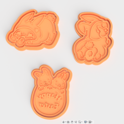 Download 3D printer designs Easter rabbit cookie cutter set of 3, roxengames