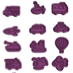 Download 3D printer files Transport Cookie Cutters set of 13, roxengames