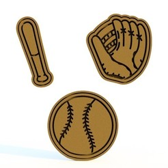 Download STL Baseball cookie cutter set of 3, roxengames