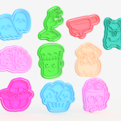 Screenshot_1.png Download STL file Halloween Cookie Cutter Set of 10 • 3D print template, roxengames