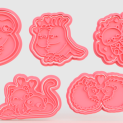 Download 3D printer designs Valentine Day cute animals cookie cutter of 5, roxengames