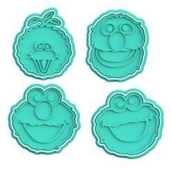 Download STL file Sesame Street Muppet cookie cutter set of 4 • 3D print template, roxengames
