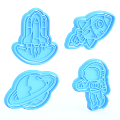 Download 3D printing files Space cookie cutter set of 4, roxengames