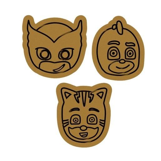Download 3D print files PJ Masks hero cookie cutter set of 3, roxengames