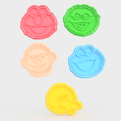 Screenshot_3.png Download STL file Sesame Street Muppet cookie cutter set of 5 • 3D printer template, roxengames