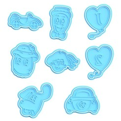 Download STL file The Wiggles cookie cutter set of 8 • 3D printer model, roxengames