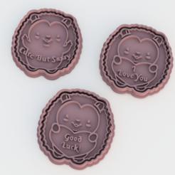 Download 3D printer model Hedgehog Valentine's Day cookie cutter set of 3, roxengames