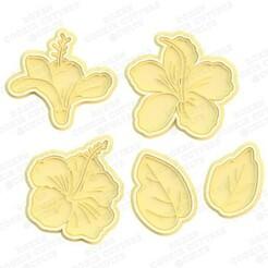 1.jpg Télécharger fichier STL Ensemble de 5 moules à biscuits pour hibiscus • Design à imprimer en 3D, roxengames